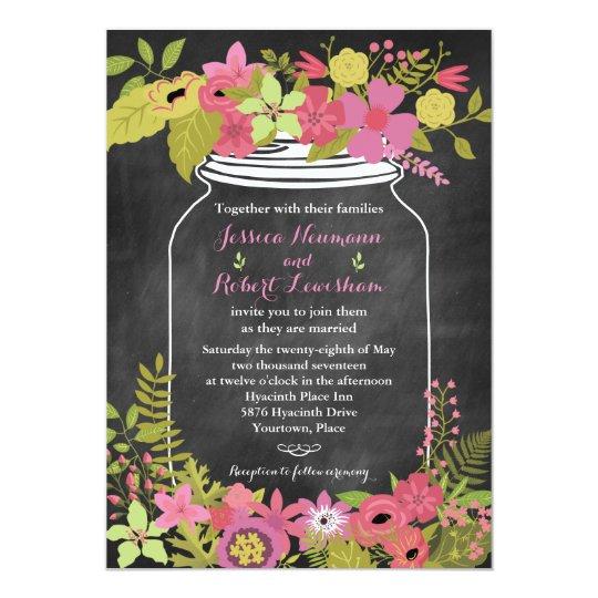 Chalkboard Mason Jar Coral Pink Floral Wedding Card