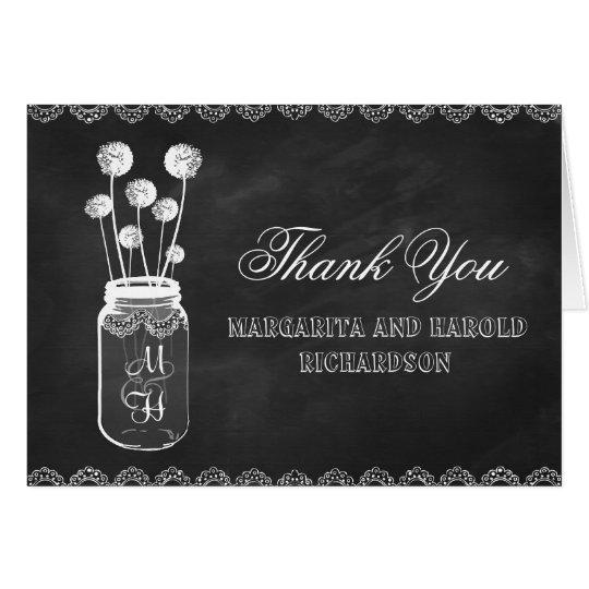 Chalkboard mason jar dandelions thank you cards