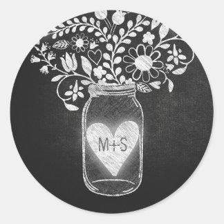 Chalkboard mason jar floral classic round sticker