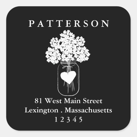 Chalkboard Mason Jar Floral Return Address Label Square