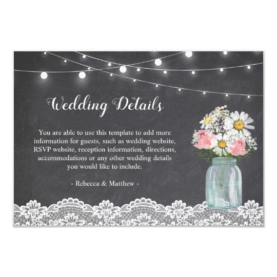 Chalkboard Mason Jar Floral Wedding Reception Card