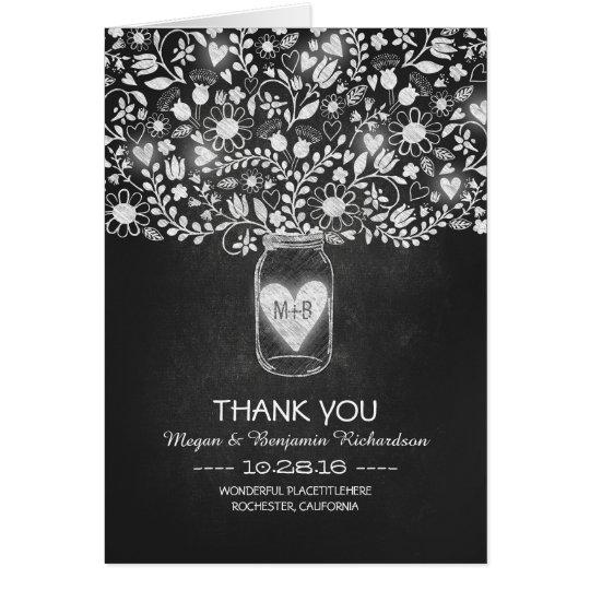 Chalkboard mason jar floral wedding thank you card