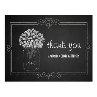 Chalkboard Mason Jar Flowers Wedding Thank You Postcard