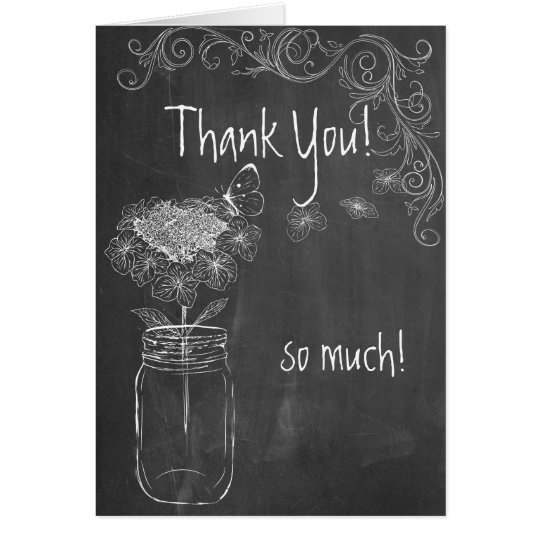 CHALKBOARD MASON JAR GARDEN WEDDING THANK YOU CARD