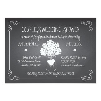 Chalkboard Mason Jar Rustic Couples Wedding Shower 13 Cm X 18 Cm Invitation Card
