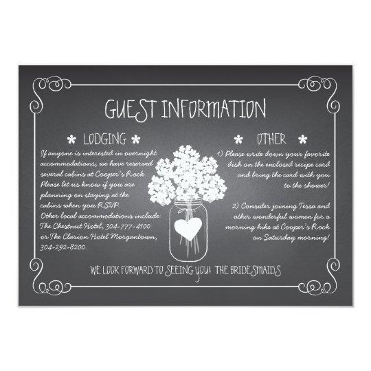 Chalkboard Mason Jar Rustic Guest Information Card