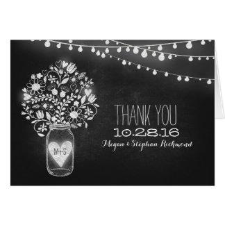 Chalkboard mason jar & string lights thank you note card