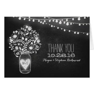 Chalkboard mason jar & string lights thank you card