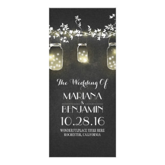 chalkboard mason jar string lights wedding program customised rack card