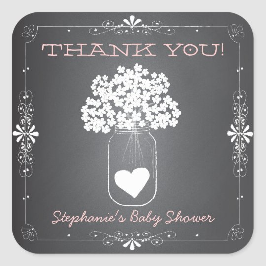 Chalkboard Mason Jar Thank You Favour Stickers