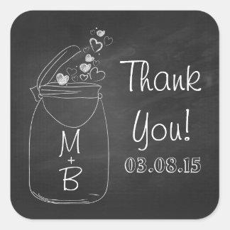 chalkboard mason jar thank you stickers