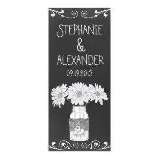 Chalkboard Mason Jar Wedding Reception Menu Card 10 Cm X 24 Cm Invitation Card