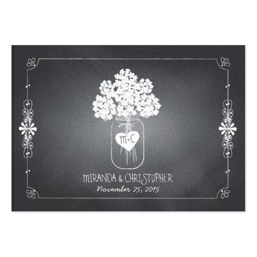 Chalkboard Mason Jar Wedding Seating Place Card Business Cards