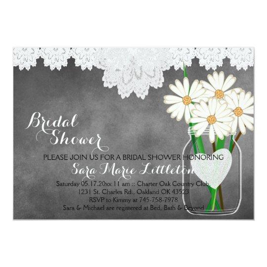 Chalkboard Mason Jar - White Daisies Bridal Shower