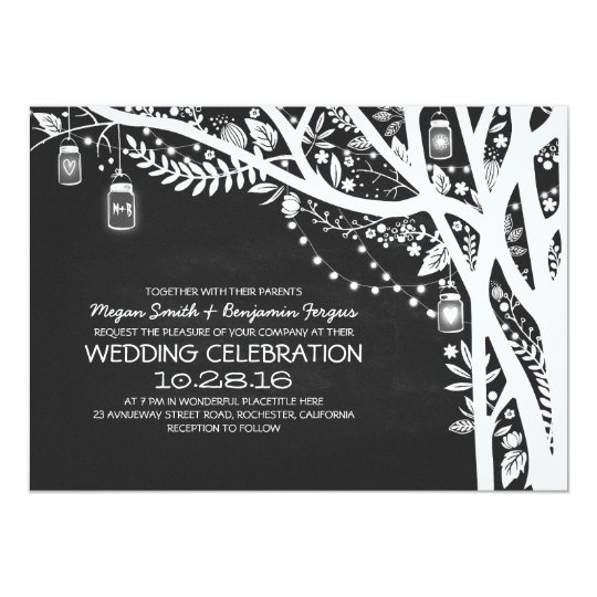 Chalkboard mason jars tree string lights wedding card