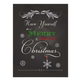Chalkboard - Merry & Bright Christmas Poster