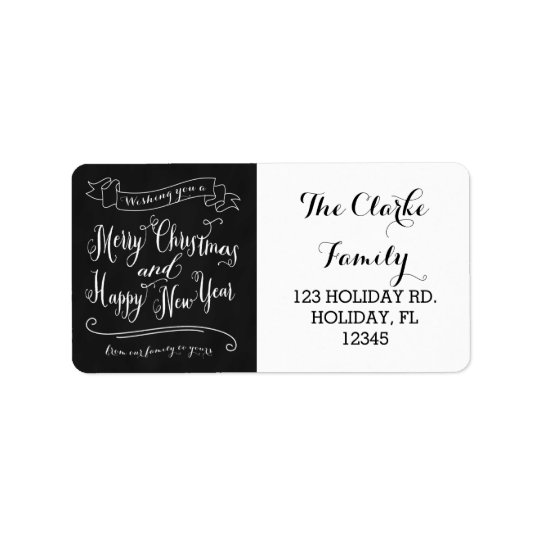 Chalkboard Merry Christmas and Happy New Year Address Label