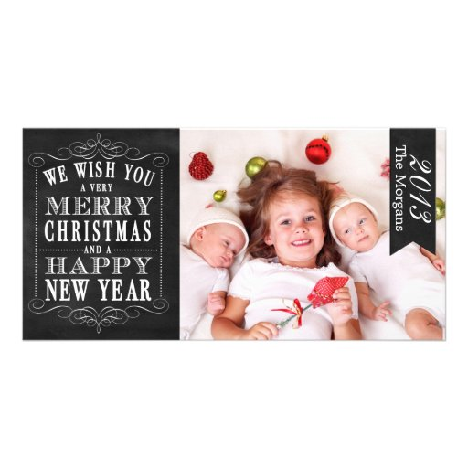 Chalkboard Merry Christmas, Happy New Year Card Personalized Photo Card