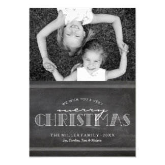 Chalkboard Merry Christmas Holiday Letter Card Custom Announcement