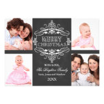 Chalkboard Merry Christmas Holiday Photo Card Personalised Announcement