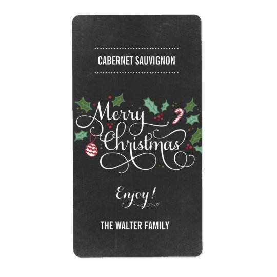 Chalkboard Merry Christmas Wine Bottle Labels
