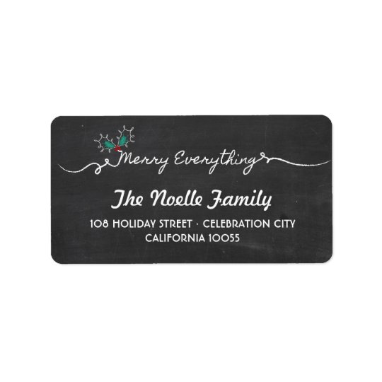 Chalkboard Merry Everything Holiday Address Labels