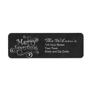Chalkboard Merry Everything Return Address Label