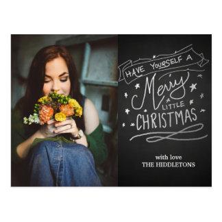 Chalkboard Merry Little Christmas Script Photo Postcard