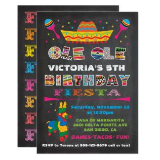 Chalkboard Mexican Fiesta Birthday Party Card