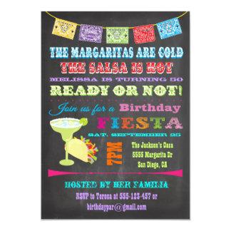 Chalkboard Mexican Fiesta Birthday Party 5x7 Paper Invitation Card