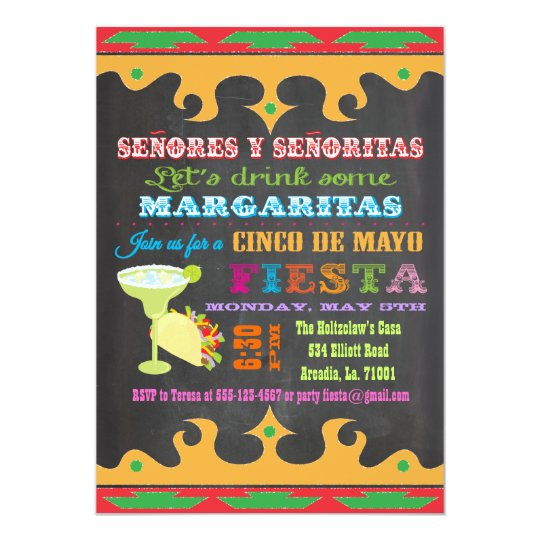 Chalkboard Mexican Fiesta Cinco de Mayo Invitation