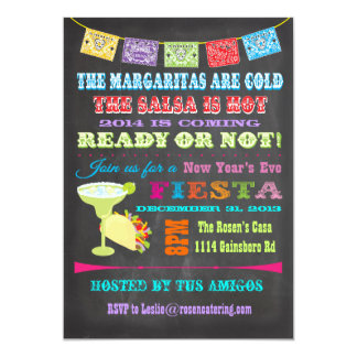 Chalkboard Mexican Fiesta New Year's Eve Party Card