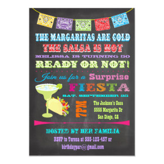 Chalkboard Mexican Fiesta Surprise Birthday Party Card