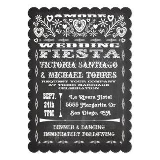 Chalkboard Mexican Wedding Papel Picado Invitation