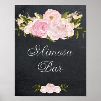 chalkboard mimosa bar sign pink roses poster