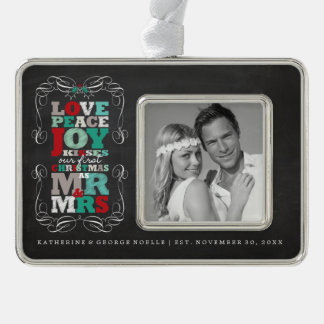Chalkboard Mistletoe 1st Christmas Photo Ornament