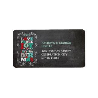 Chalkboard Mistletoe Vintage 1st Christmas Labels