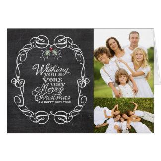 Chalkboard Mistletoes Christmas Holiday Greetings Card