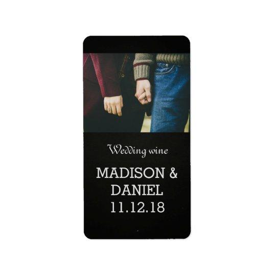 Chalkboard Modern Photo Wedding Wine Address Label