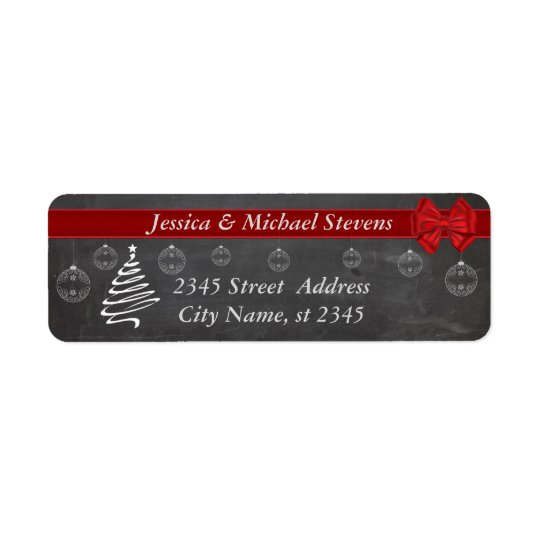 Chalkboard  modern trendy holiday Christmas Return Address Label