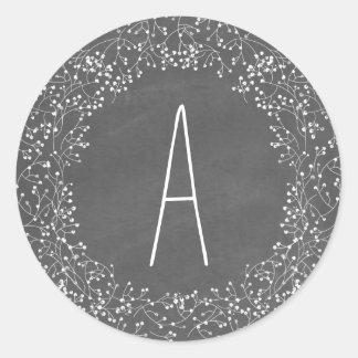 Chalkboard Monogram Baby's Breath Wedding Round Sticker