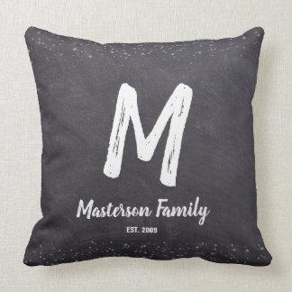 Chalkboard, Monogram, Family, Established Cushion