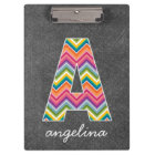 Chalkboard Monogram Letter A with Bright Chevrons Clipboard
