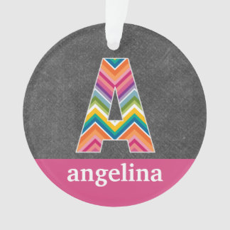 Chalkboard Monogram Letter A with Bright Chevrons Ornament
