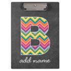Chalkboard Monogram Letter B with Bright Chevrons Clipboard