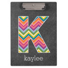 Chalkboard Monogram Letter K with Bright Chevrons Clipboard