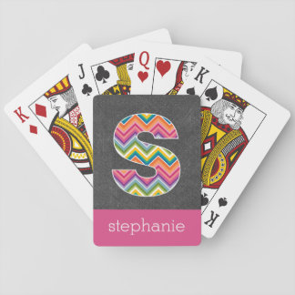 Chalkboard Monogram Letter S with Bright Chevrons Poker Deck
