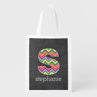 Chalkboard Monogram Letter S with Bright Chevrons Reusable Grocery Bag