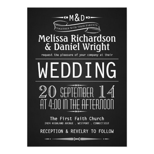 Chalkboard Monogram Typography Wedding Invitations
