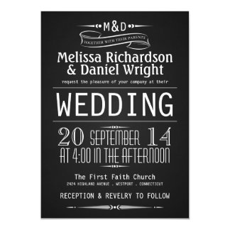 Chalkboard Monogram Typography Wedding Invitations